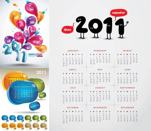 3 Beautiful 2011 Calendar Vector 2011 New Year Water Droplets Cute