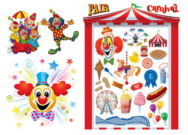 The Clown & Carnival Vector Of Material The