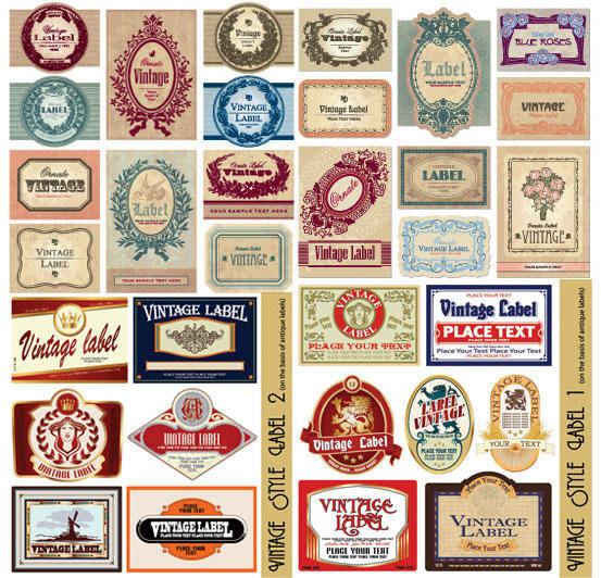 European Retro Label Vector European Vector