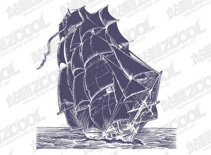 free vector Pen Drawing Style Sailing Vector Material Boats Ocean Pen Drawing