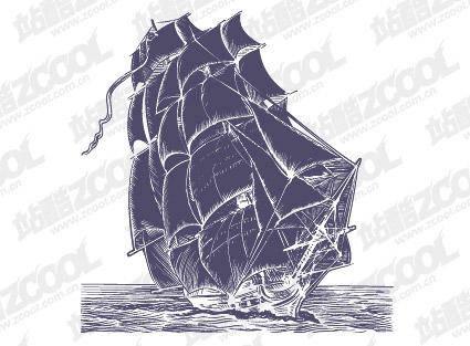 Pen Drawing Style Sailing Vector Material Boats Ocean Pen Drawing