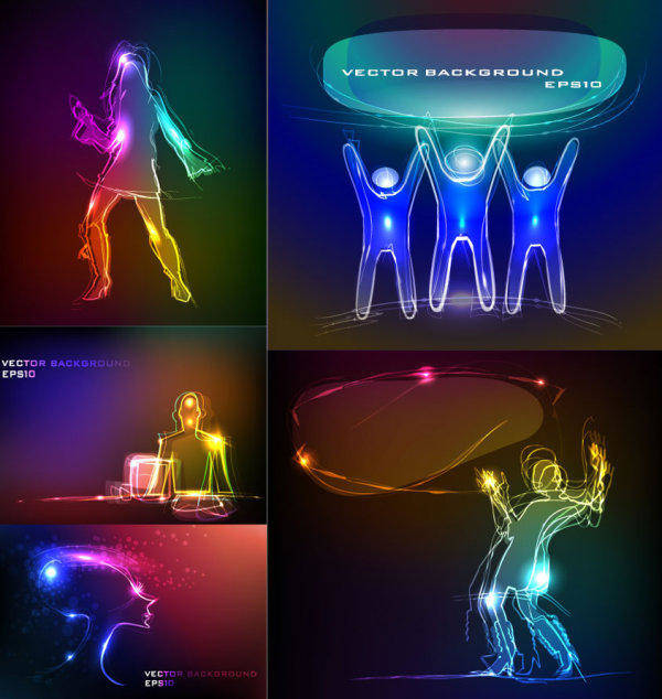 free vector Material Composition Of The Task Light Vector People Lines Flashing
