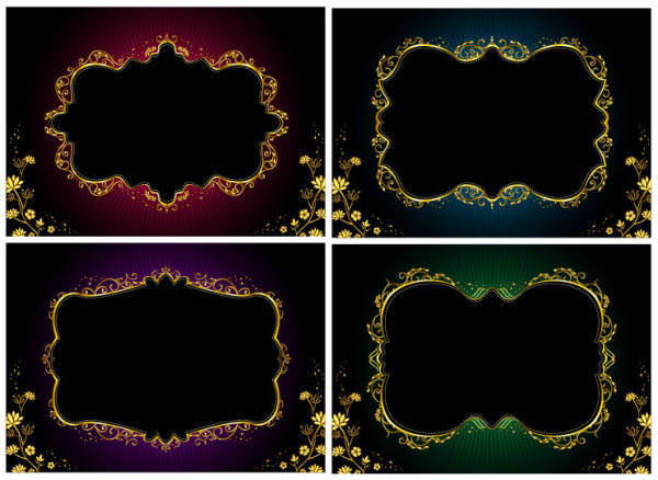 Vector Ornate Gold Lace Material Vector