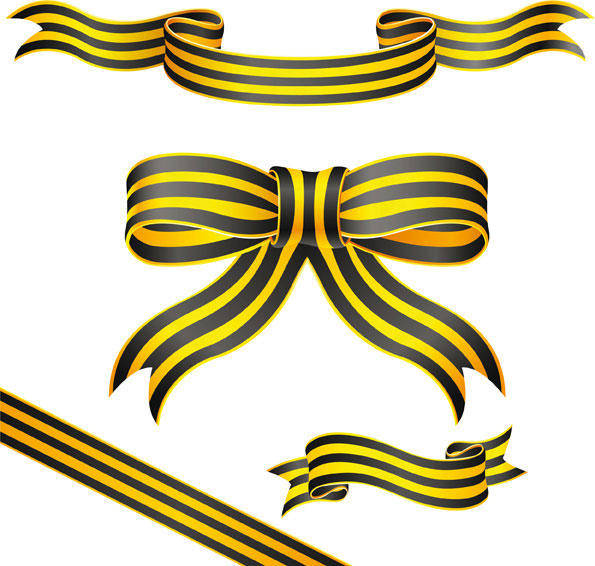 Yellow Striped Ribbon Vector Material Yellow