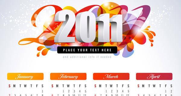 free vector 2011 Vector Calendar 2011 Vector Calendar Calendar Vectors Free Vector Calendar