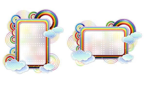 Rainbow Clouds Cute Vector Border Rainbow