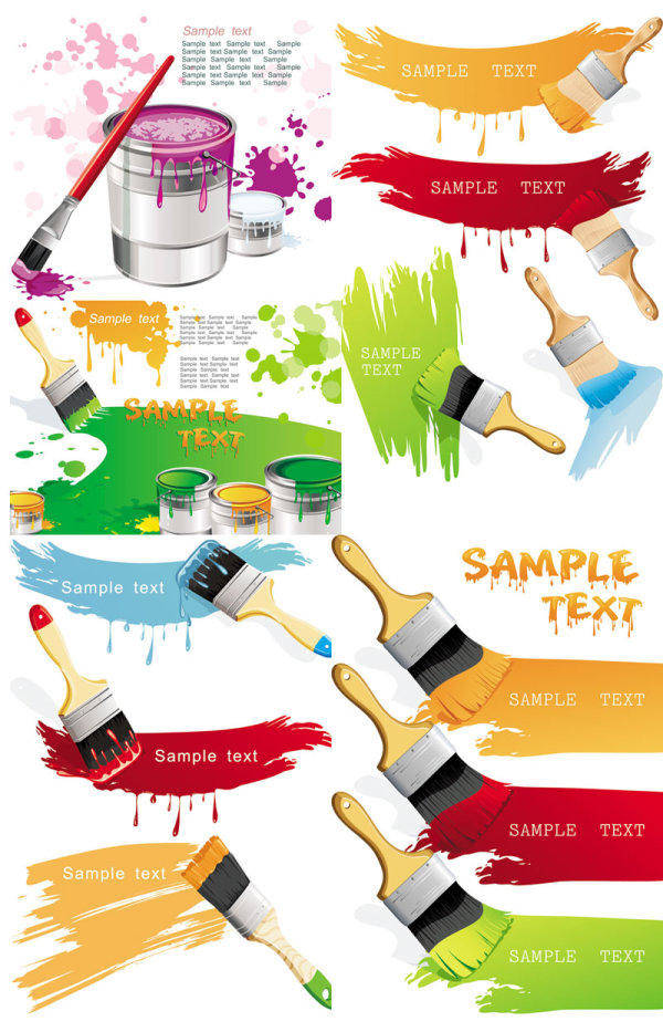Paint Brush And Color - Vector Color Paints Brushes Paint