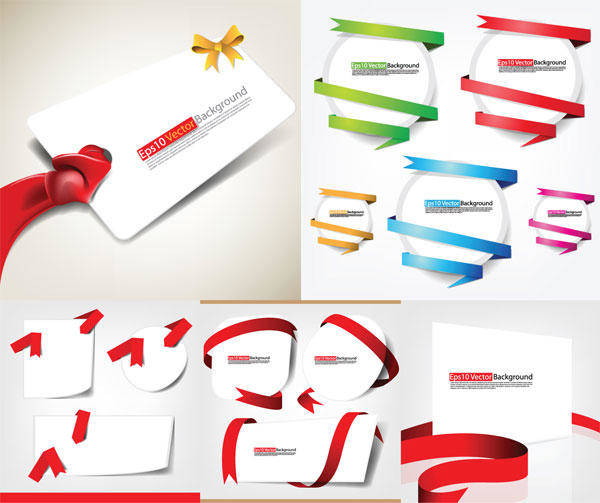 free vector Ribbons And Cards Vector Material Ribbon Wrapping Bows