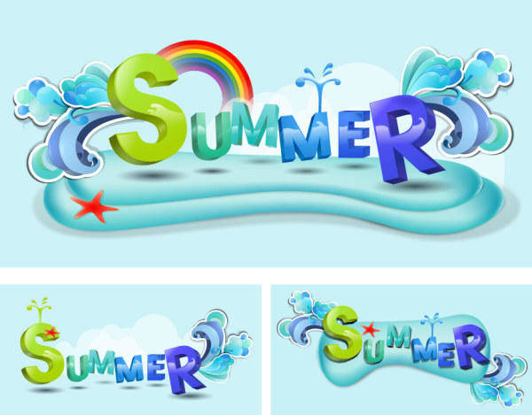 free vector Summer Theme Vector Font Design Material Summer Theme Vector