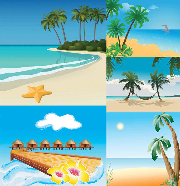 free vector 5 Vector Beach Scenery Vector