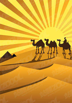 Golden Desert Camel Silhouette Vector Golden Vector