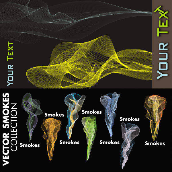 free vector Colorful Line Smoke Vector Of Material Colorful