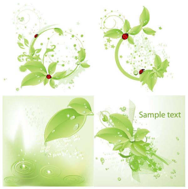 free vector Vector Ladybird Green Leaf Material Drops Vector