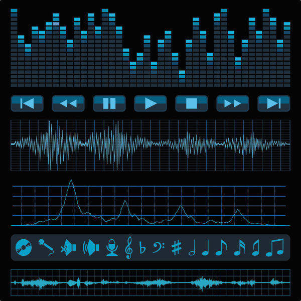 free vector Audio Band Material 02 - Vector Audio Acoustic Frequency Music