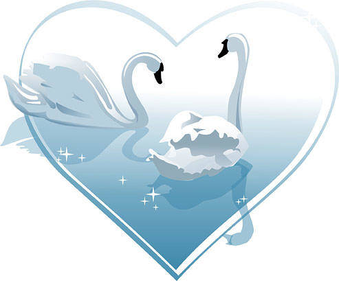 free vector Heart-shaped White Swan Vector Of Material Heart-shaped