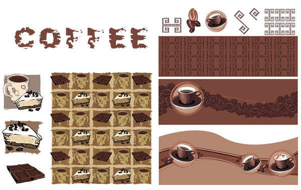 free vector { Related Coffee} Vector Material Vector Coffee Tray Coffee Beans