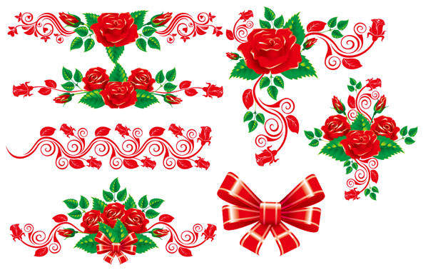 Beautiful Rose Lace Vector Material Beautiful Vector