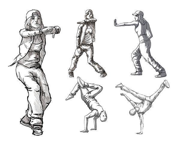 free vector Dancing Figures Vector Material Characters Hip-hop Dance