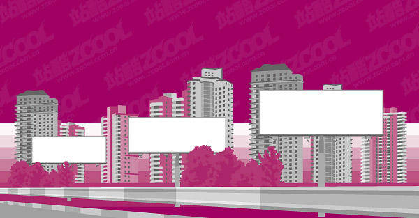 free vector City Building Blank Billboard Vector Material Vector Urban House