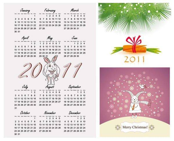 free vector Calendar Year Of The Rabbit 2011 Calendar Year Rabbit
