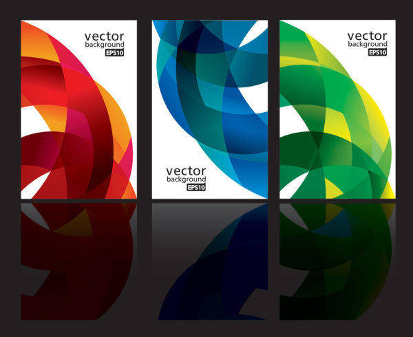 free vector Dynamic Ribbon Card 02-- Vector Material Dynamic Colorful Cards