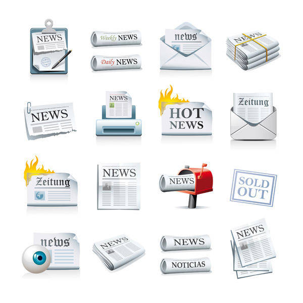free vector Newspaper Icon Vector Material Newspaper
