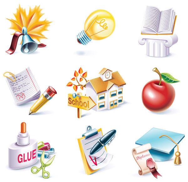 free vector School Theme Icon Vector Material School
