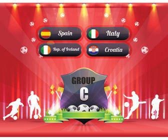 Euro 2012 Group C Award Poster Decoration Vector Art Badge Ball