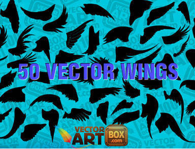 Angel Wing Vector Silhouettes