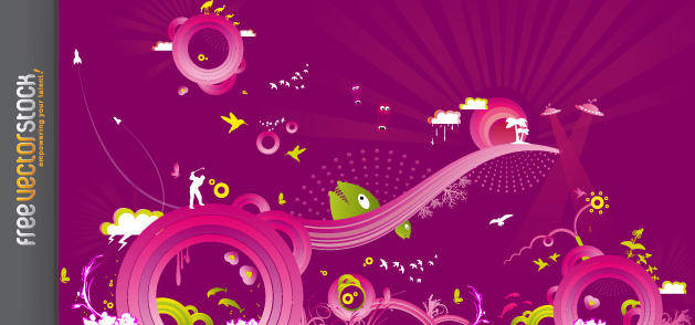 free vector Abstract Pink and Purple Vectors in the Sky