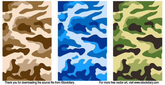 Army camouflage pattern in three different colours