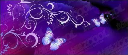 free vector Purple Butterfly Dream background and patterns