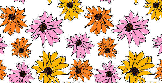 Free flowers pattern vector