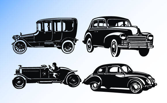 free vector Old car silhouettes