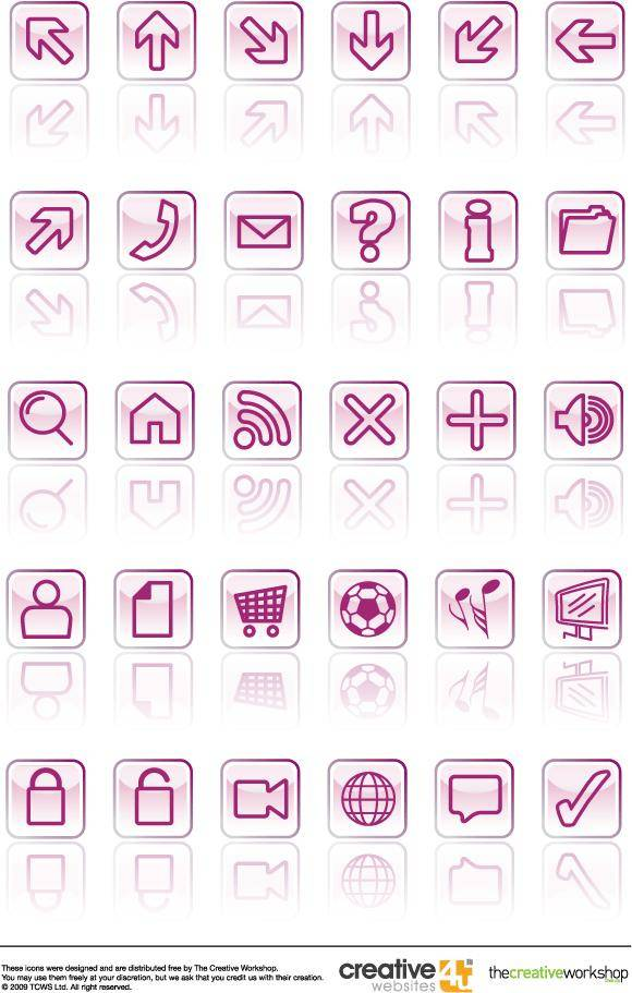 free vector Glassy Vector Icons