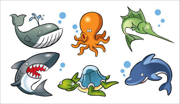 free vector Cartoon Sea Animals Vector