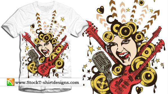 free vector Free Vector T-shirt Design with Singing Girl and Guitar