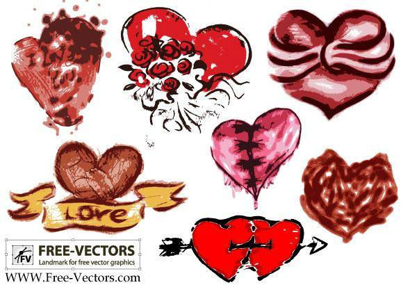 Free Valentine's Love Heart Vector Set-3