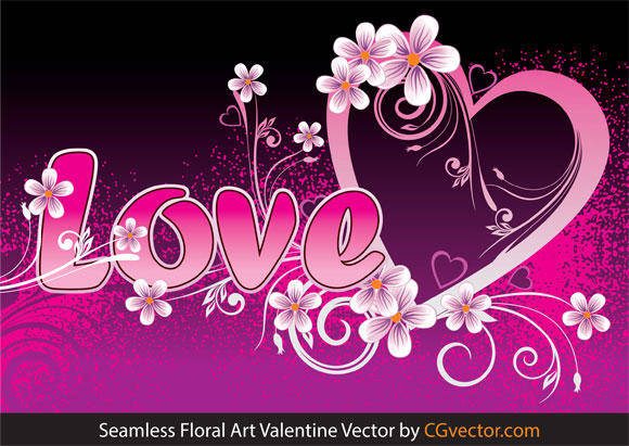 free vector Seamless Floral Art Valentine Vector