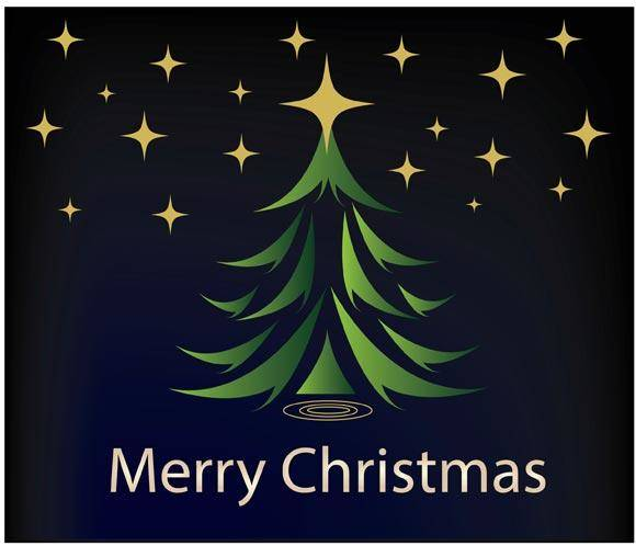 free vector Green Christmas tree trival black background