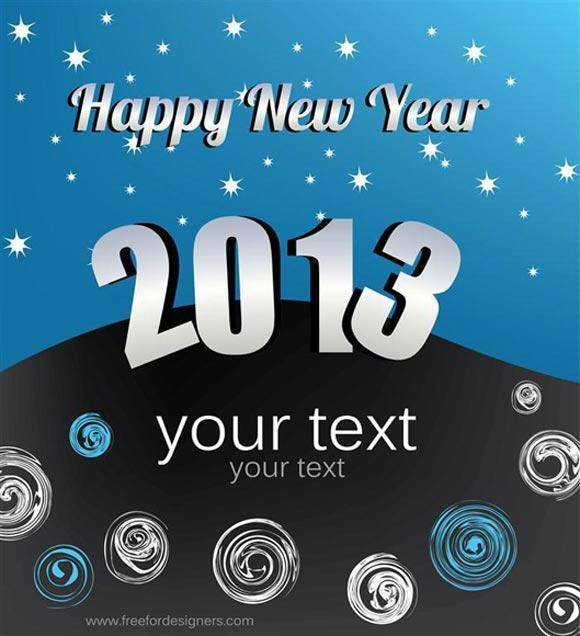 free vector New Year 2013 greeting card