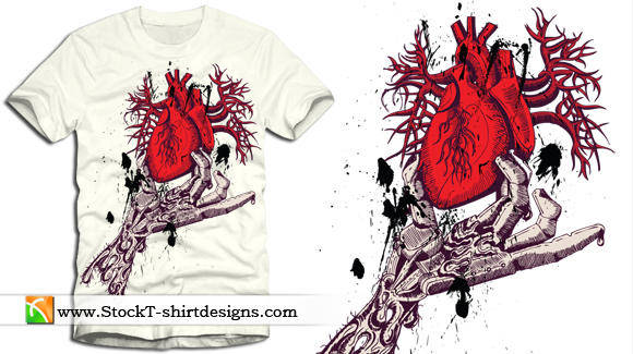 free vector Skeleton Hand Holding Anatomical Red Heart with Free Tee Design