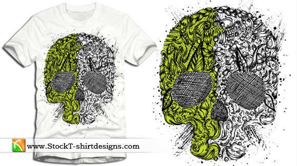 free vector Skull Ornament Free Vector T-shirt Design Illustration