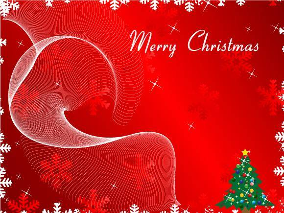 free vector Merry Christmas Greeting Card on Red Background Vector