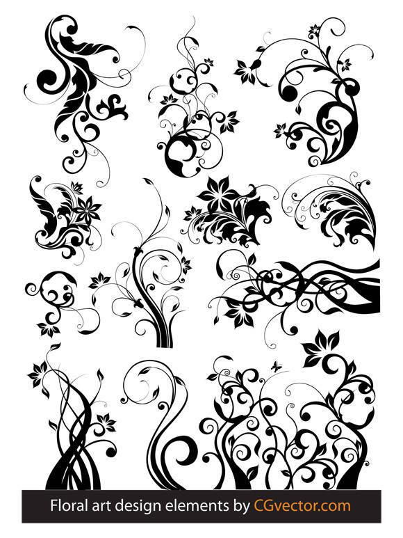 free vector Floral art design elements