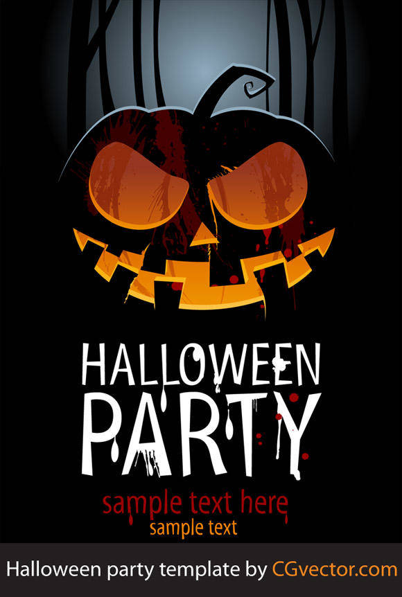 Halloween Night Poster Free Vector / 4Vector