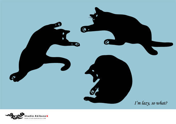 free vector Silhouettes of lazy postured cats