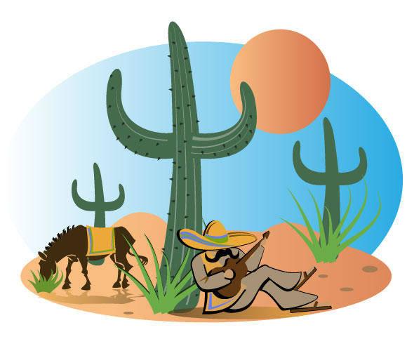 free vector Mexican Landscape Vector Illustration