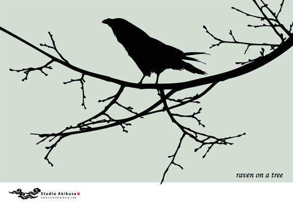 free vector Raven on a tree