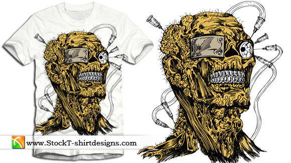 free vector Free Vector Apparel T-shirt Design with Demon Man